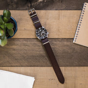 dark-brown-vegetable-tanned-leather-nato-watchband-on-watch