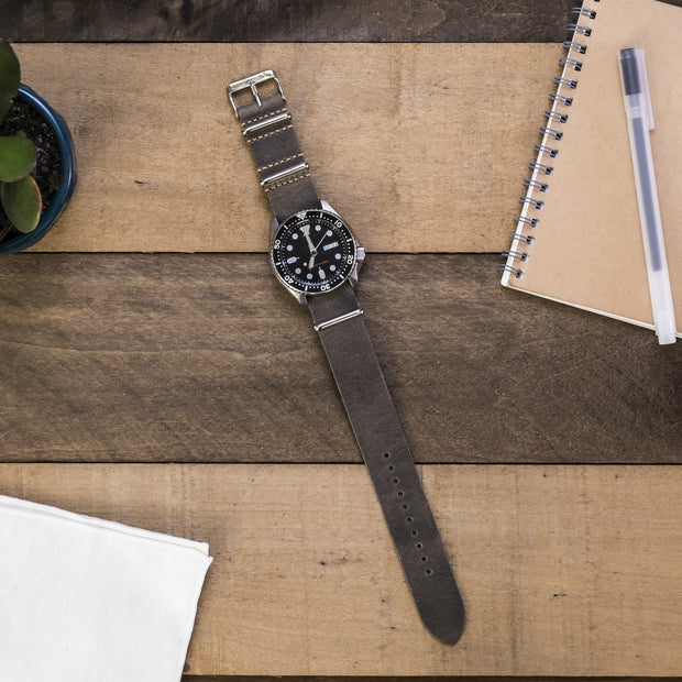 gray-oiled-leather-nato-watchband-on-watch