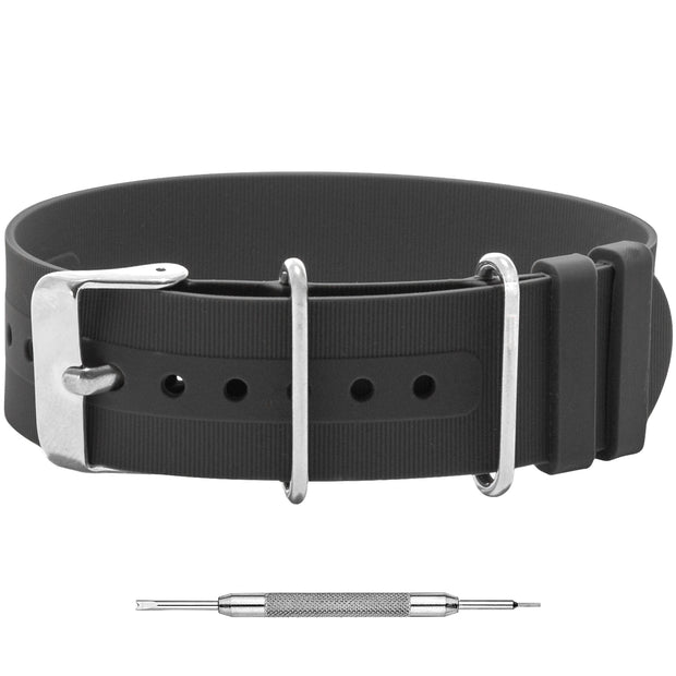 Silicone Single Pass Watch Band | Grey