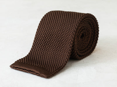 Silk Knit Tie <br> Dark Brown