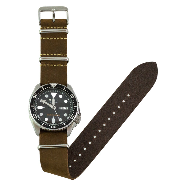 dark-brown-oiled-leather-nato-watchband-on-watch