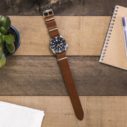 light-brown-vegetable-tanned-leather-nato-watchband-on-watch