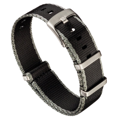 Seat Belt Nylon NATO | Black & Gray Edge