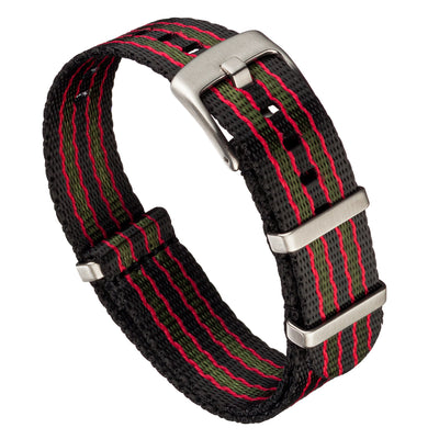 Seat Belt Nylon NATO | Black, Red & Green Striped