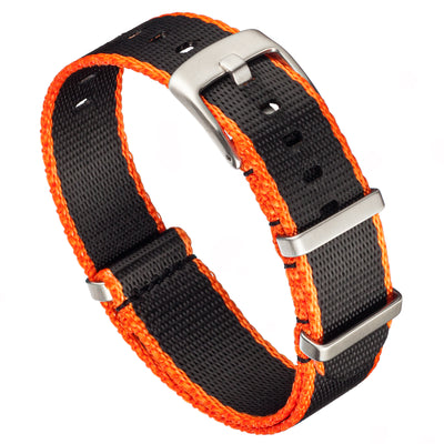 Seat Belt Nylon NATO | Black & Orange Edge