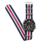 red-white-navy-blue-ballistic-nylon-nato-watchband-on-watch