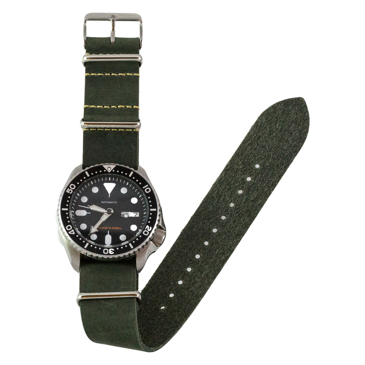 dark-green-oiled-leather-nato-watchband-on-watch