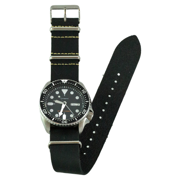 Black Oiled Crazy Horse Leather Watchband on Seiko SKX007