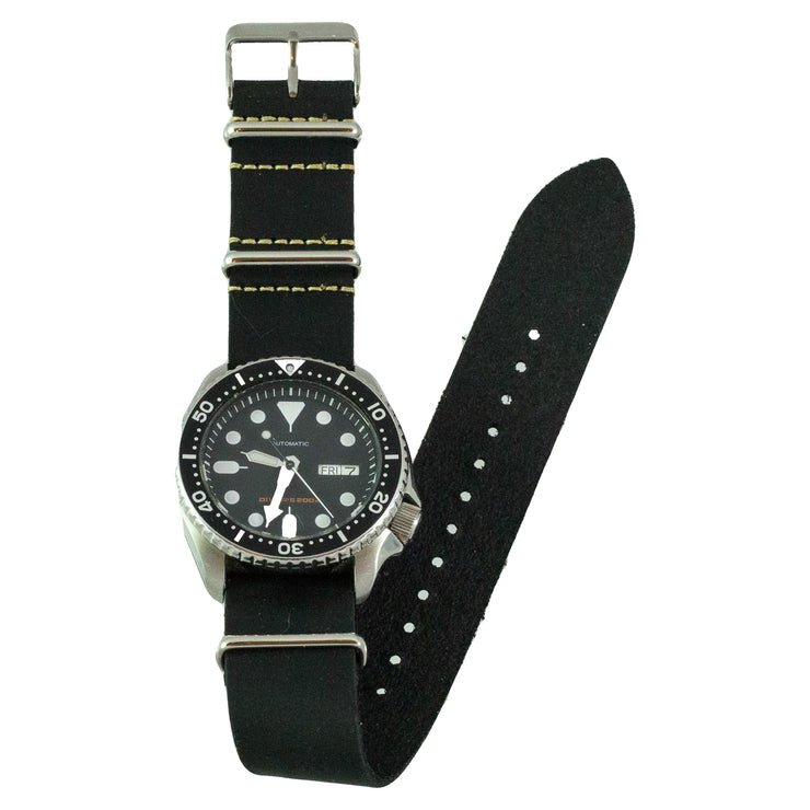 0f13e5508bf Black Oiled Pull-Up Leather NATO Watchband – Benchmark Basics