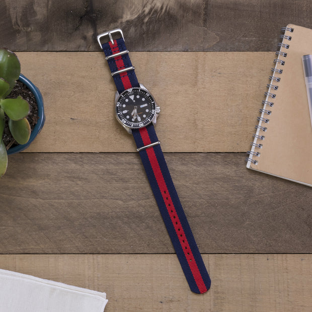 navy-blue-red-ballistic-nylon-nato-watchband-on-watch
