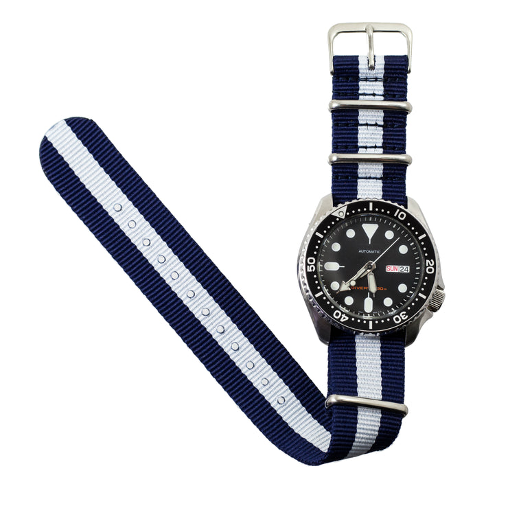 navy-blue-white-ballistic-nylon-nato-watchband-on-watch