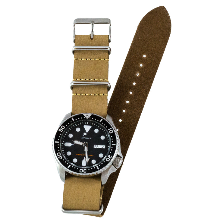 Tan Oiled Crazy Horse Leather Watchband on Seiko SKX007