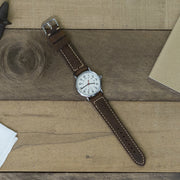 dark-brown-padded-oiled-leather-watchband-on-watch