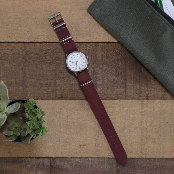 oxblood-oiled-leather-nato-watchband-on-watch