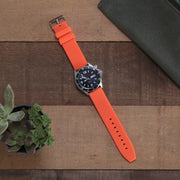 orange-silicone-rubber-watchband-on-watch