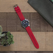 red-silicone-rubber-watchband-on-watch
