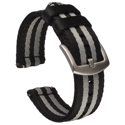 Seat Belt Nylon Quick Release | Black & Grey Striped
