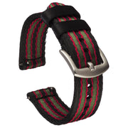 Seat Belt Nylon Quick Release | Black, Red & Green Striped