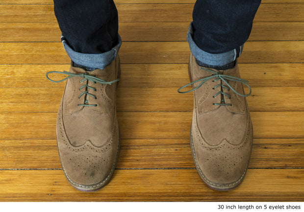Thin Waxed Cotton Laces (2 Pairs) | Army Green
