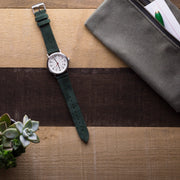 forest-green-suede-watchband-on-watch