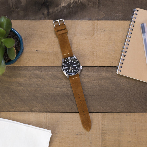 light-brown-tobacco-suede-watchband-on-watch