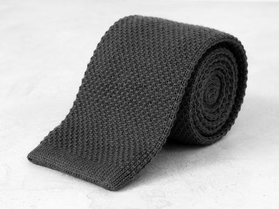 Wool Knit Tie <br> Slate Gray