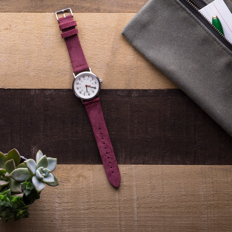 burgundy-suede-watchband-on-watch