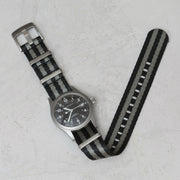 Seat Belt Nylon NATO <br> Black & Gray Striped