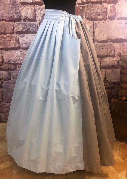 Two Tone Pleated Drawstring Skirt with Pockets