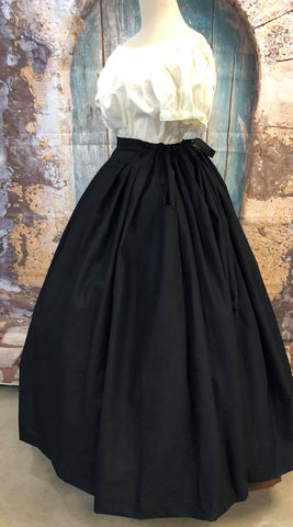 Pleated Drawstring Skirt with Pockets