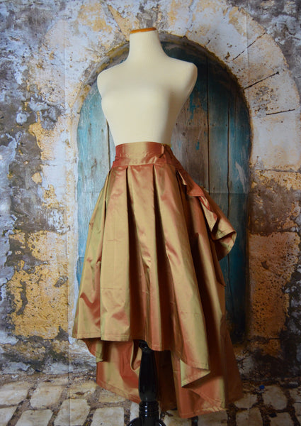 High Low Ruffle Taffeta Rose Gold Steampunk Skirt