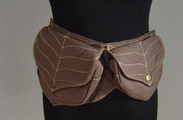 Festival Belt Fanny Pack with Leaf Stitching