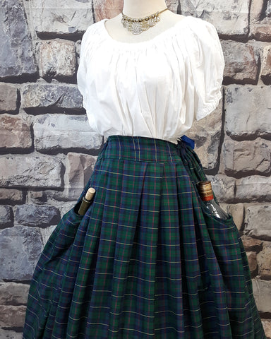 Pleated Tartan Skirt with Pockets