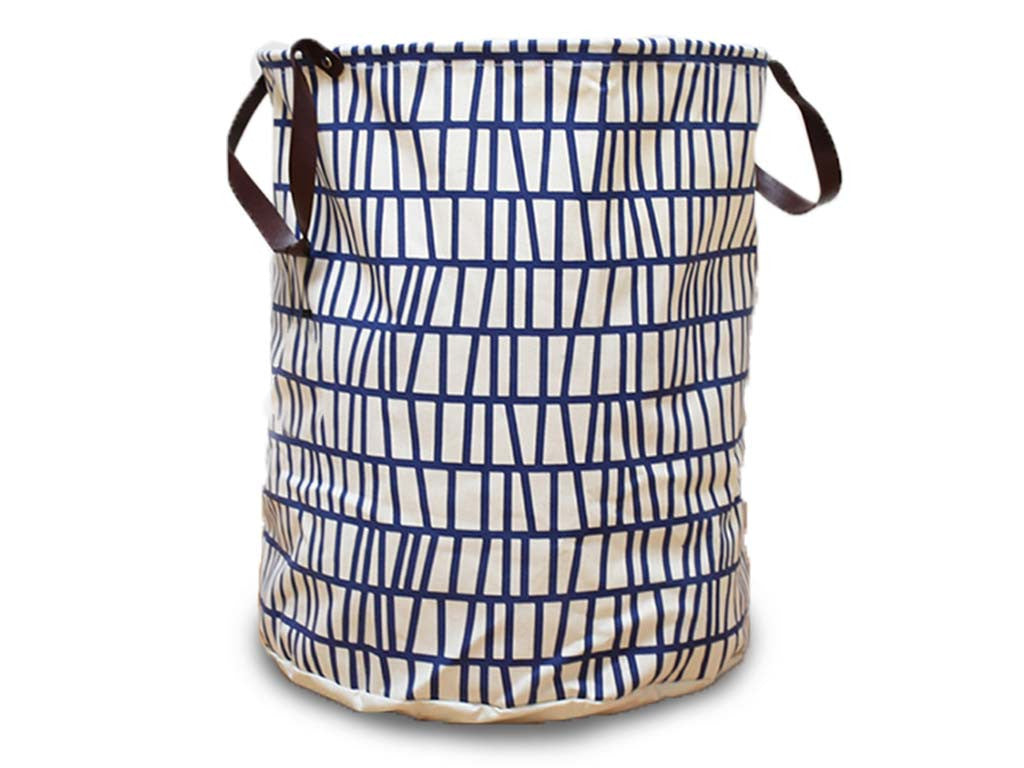 Piece + Parcel - Navy Grid Pattern Canvas Basket -