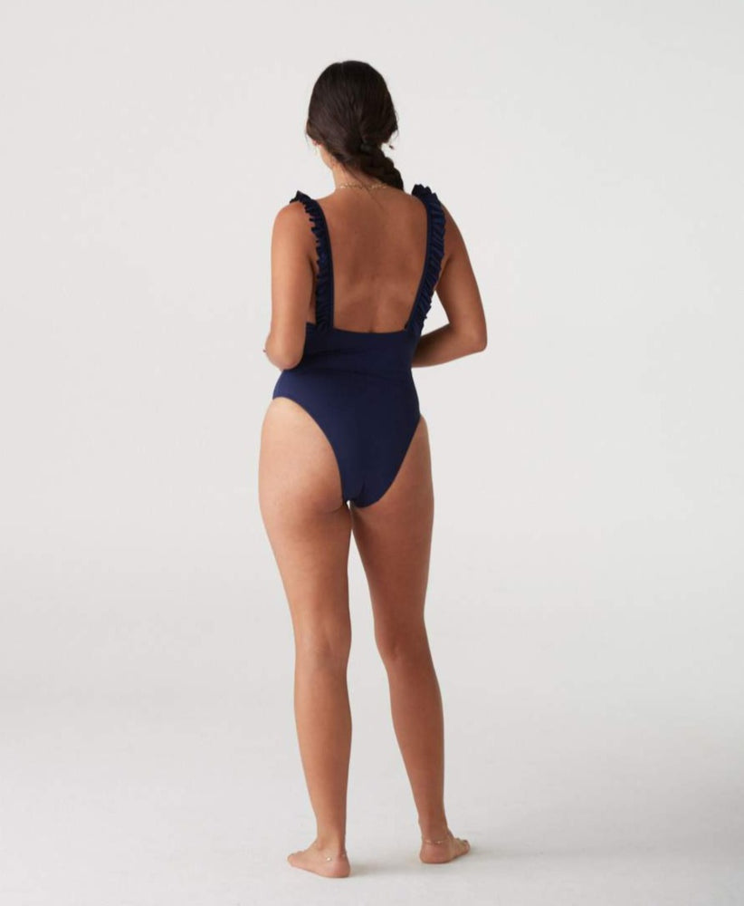 La Porte ruffle one piece with square neck, low back and cheeky coverage