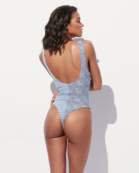 Eliza Contrast Print Thong One Piece