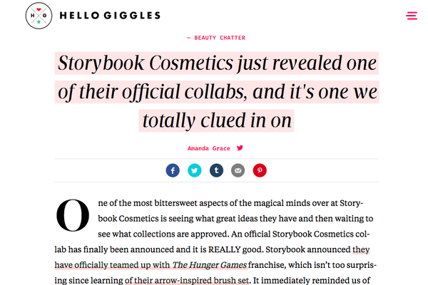 Storybook Cosmetics just revealed one of their official collabs, and it's one we totally clued in on: HelloGiggles Feature