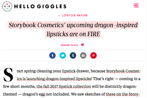 Storybook Cosmetics' upcoming dragon-inspired lipsticks are on FIRE: HelloGiggles Feature