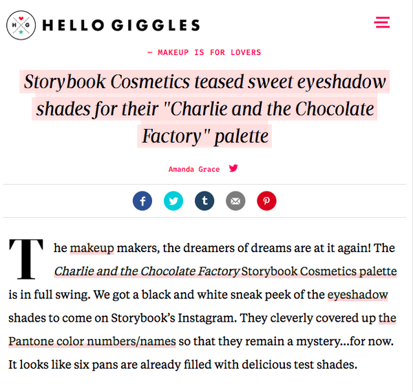 Storybook Cosmetics teased sweet eyeshadow shades for their