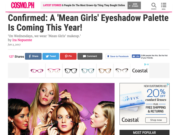 Confirmed: A 'Mean Girls' Eyeshadow Palette Is Coming This Year!: Cosmo Feature