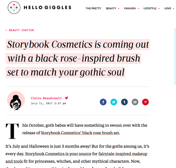 Storybook Cosmetics is coming out with a black rose-inspired brush set to match your gothic soul: Hello Giggles Feature