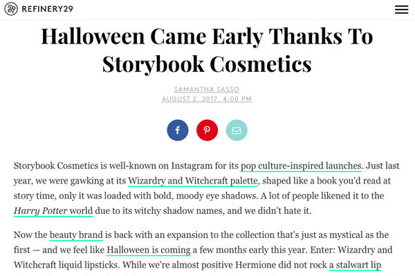 Halloween Came Early Thanks To Storybook Cosmetics: Refinery29 Feature