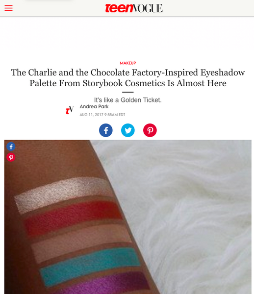 The Charlie and the Chocolate Factory-Inspired Eyeshadow Palette From Storybook Cosmetics Is Almost Here: Teen Vogue Feature