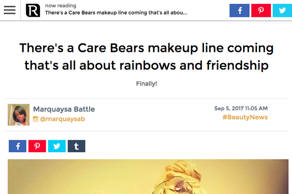 There's a Care Bears makeup line coming that's all about rainbows and friendship: Revelist Feature