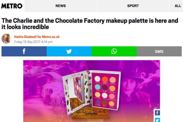 The Charlie and the Chocolate Factory makeup palette is here and it looks incredible: Metro UK Feature