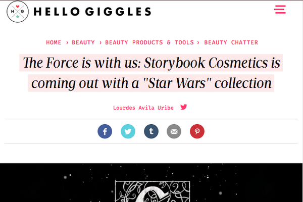 The Force is with us: Storybook Cosmetics is coming out with a