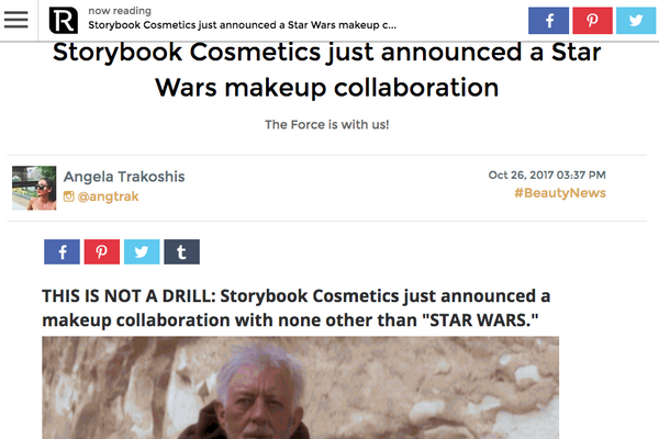 Storybook Cosmetics just announced a Star Wars makeup collaboration: Revelist Feature