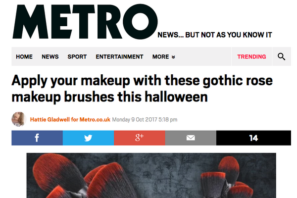 Apply your makeup with these gothic rose makeup brushes this halloween: MetroUK Feature