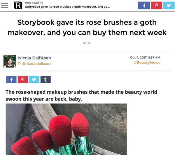 Storybook gave its rose brushes a goth makeover, and you can buy them next week: Revelist Feature