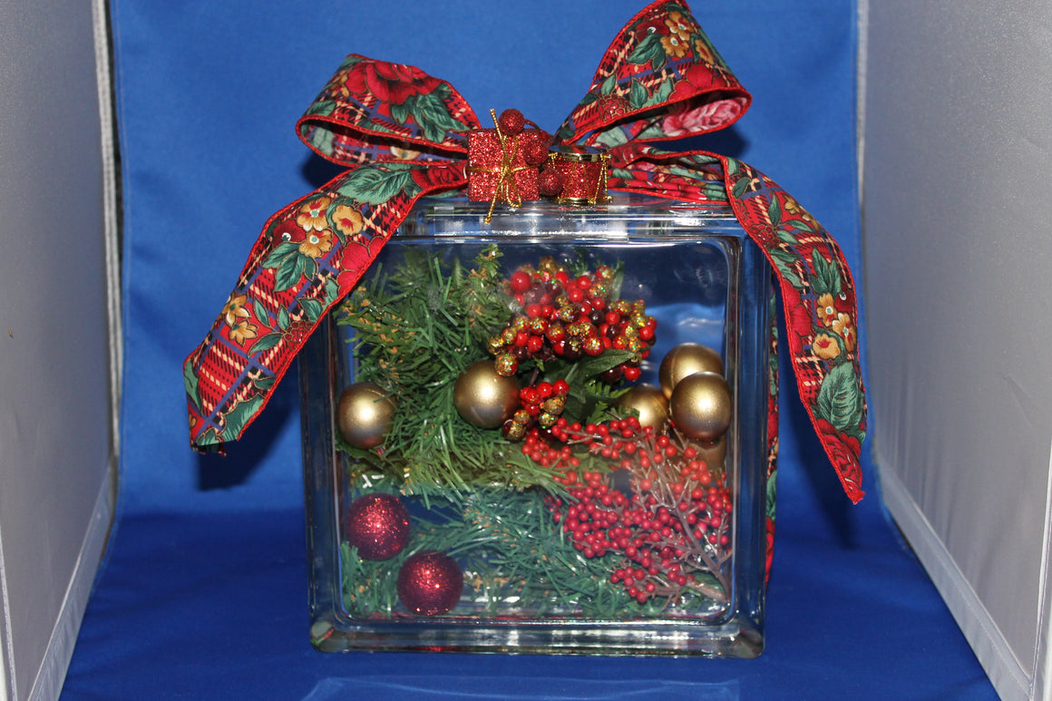 Glass Block with Holiday Greenery (Handcrafted)